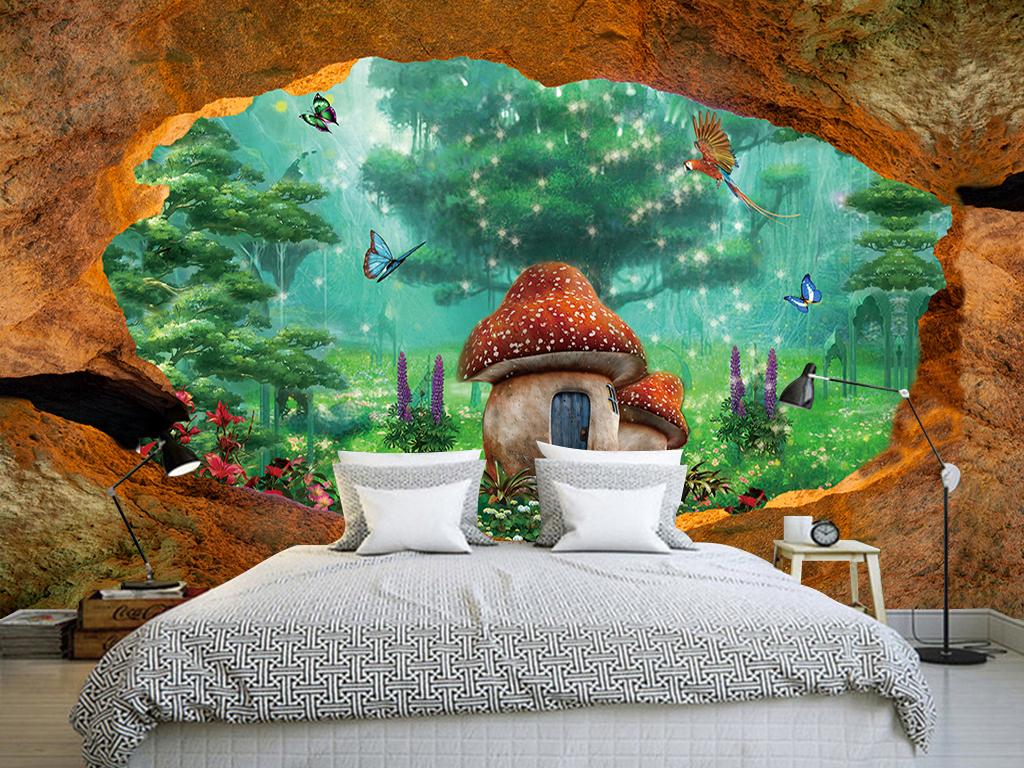 复古梦幻仙境森林3d三d立体大型背景墙