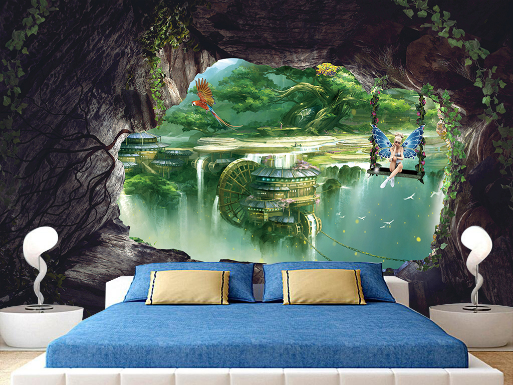 仙子梦幻仙境森林3d三d立体大型背景墙