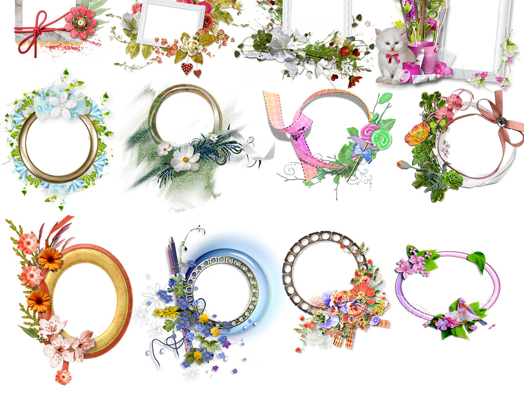 花藤卡通花饰装饰花七夕情人节手绘水彩花朵粉色花卉花纹底纹树藤花边