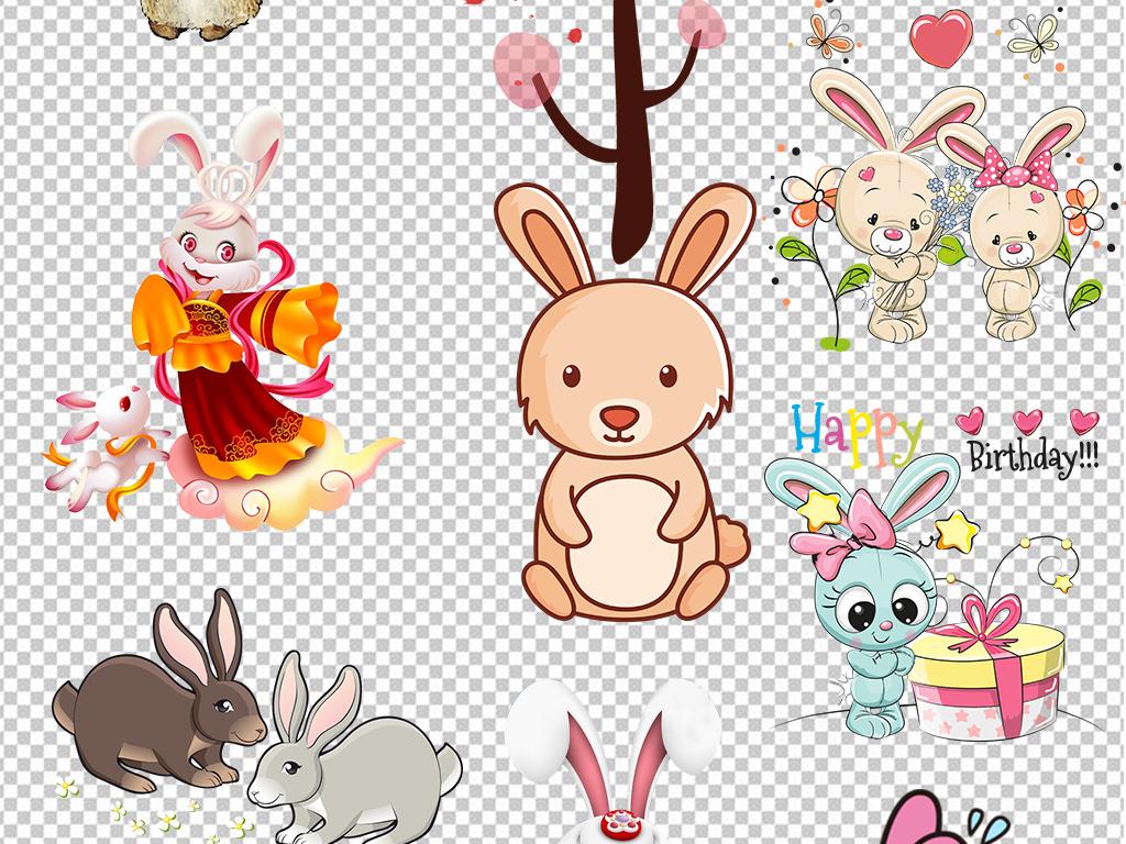 手绘兔子动物设计素材 位图, cmyk格式高清大图,使用软件为 photoshop