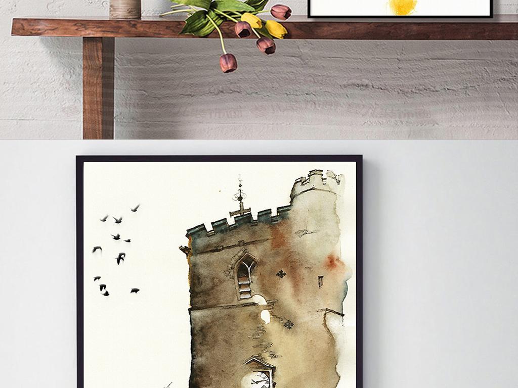 欧式手绘水彩古堡建筑装饰画