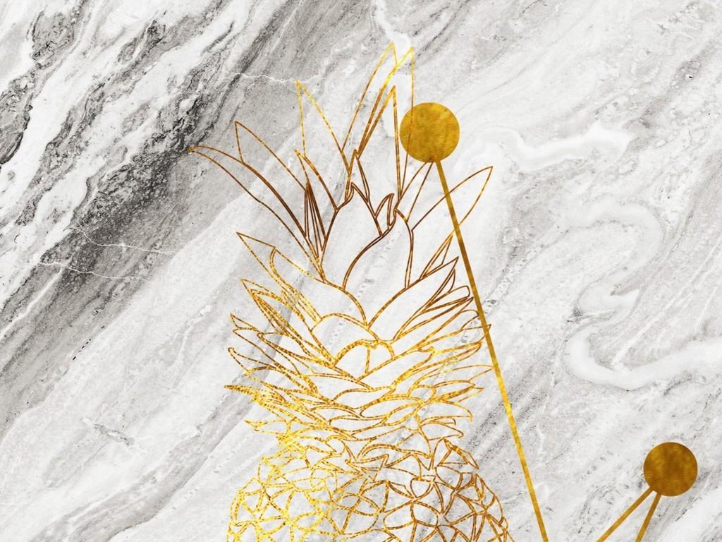 装饰画 北欧装饰画 植物花卉装饰画 > 几何图形清新北欧菠萝时尚简约