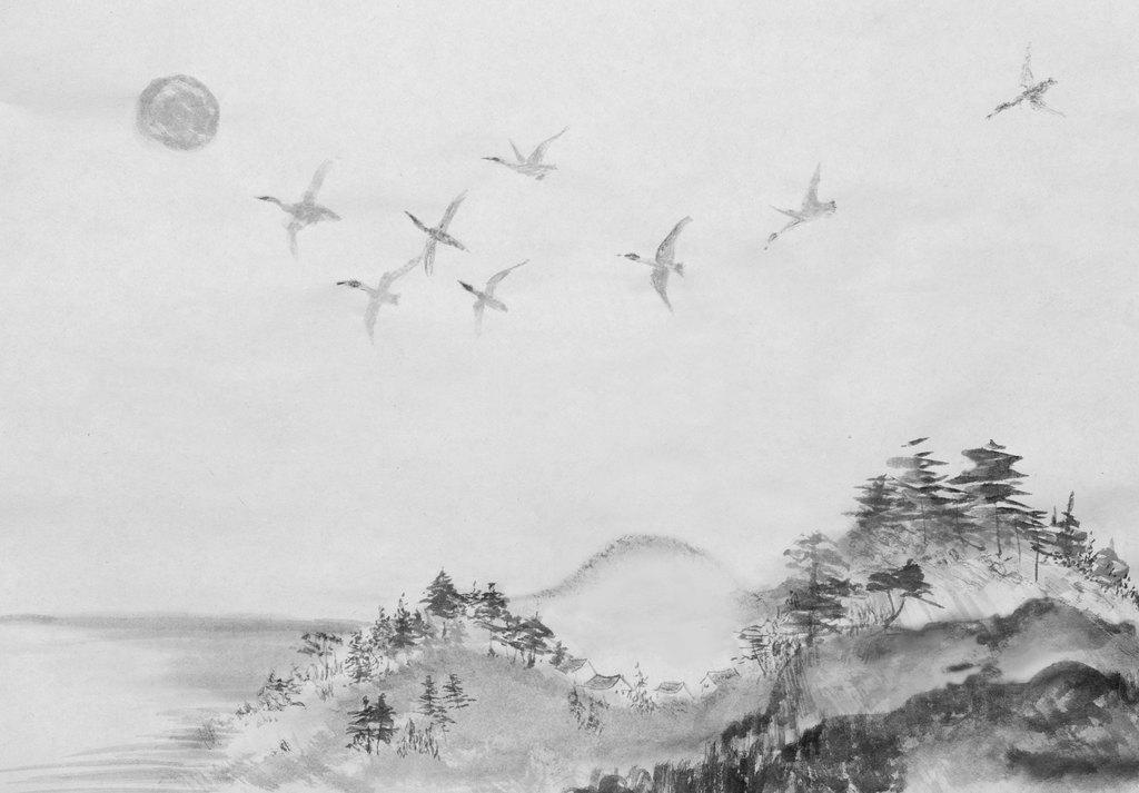 新中式手绘水墨山水云雾山水装饰画屏风壁画