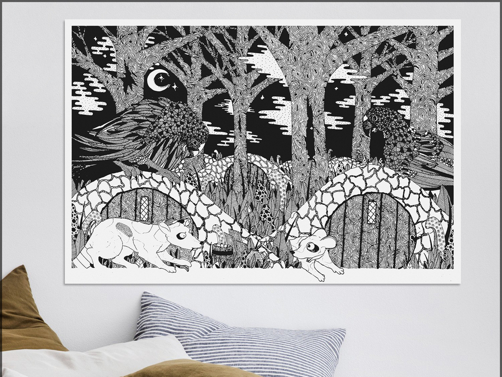 北欧简约手绘黑白森林风景插画儿童背景墙