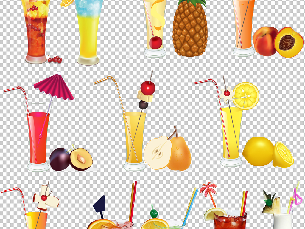 手绘矢量图免抠图素材元素透明素材果汁冷饮免抠素材元素素材素材元素