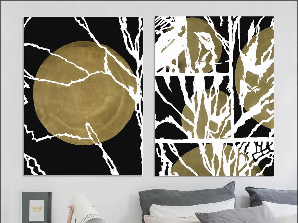 手绘抽象金色月亮文艺欧式抽象北欧装饰画