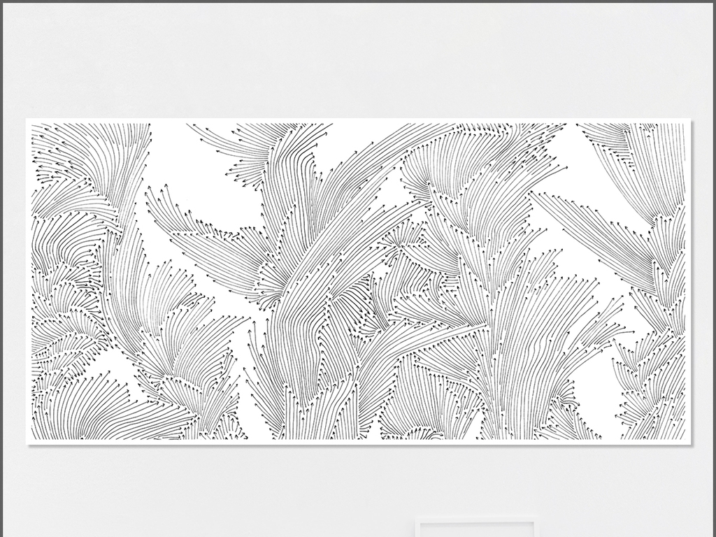 北欧简约手绘抽象线条油画无框画图片
