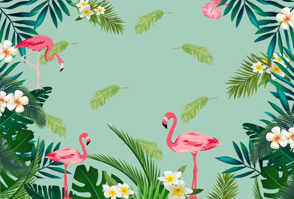 热带植物火烈鸟手绘高清墙纸