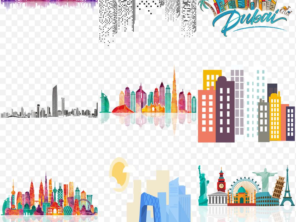 世界各地著名彩色城市建筑地标矢量剪影素材
