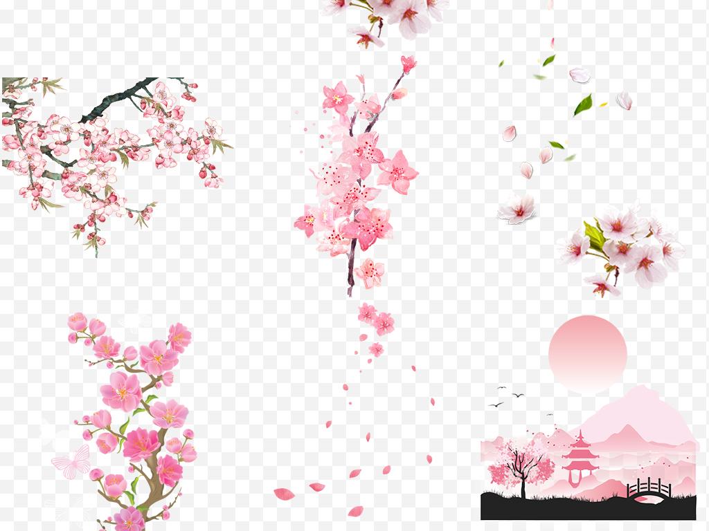 手绘花樱花桃花花朵浪漫樱花浪漫花朵图片素材浪漫桃花粉红色粉红色