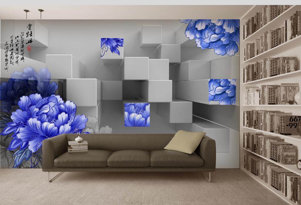 背景墙|装饰画 电视背景墙 3d电视背景墙 > 手绘工笔牡丹花立体几何
