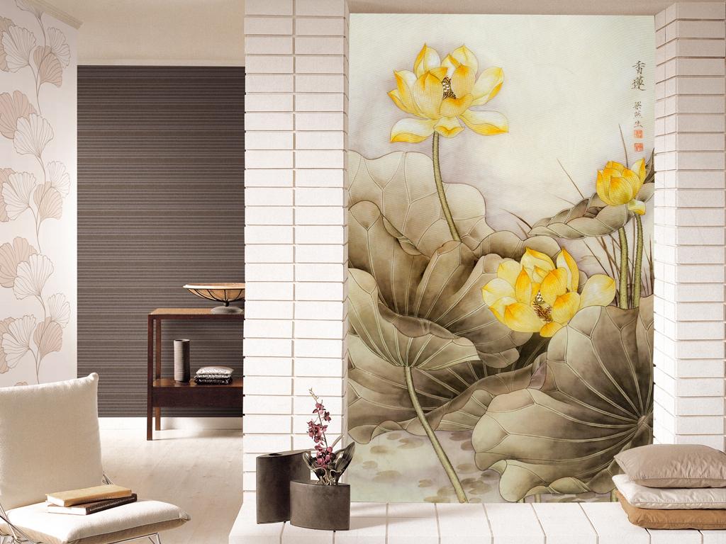 国风山水画香莲荷花荷叶水墨画卧室背景墙图片