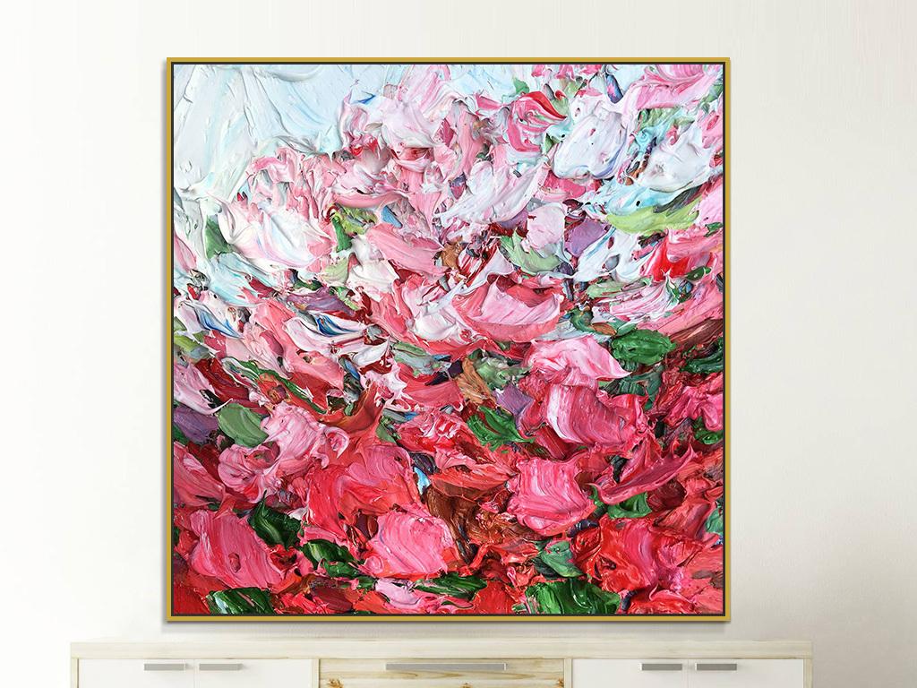 红色花瓣手绘肌理抽象装饰画
