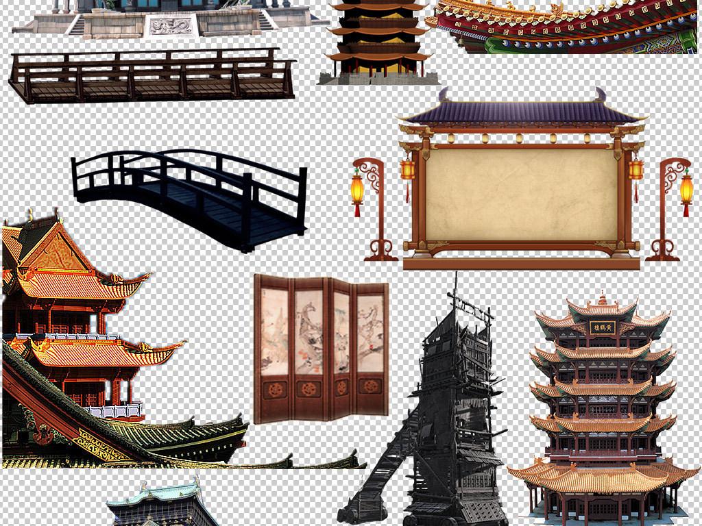 中国风古代古塔皇宫建筑png素材图片
