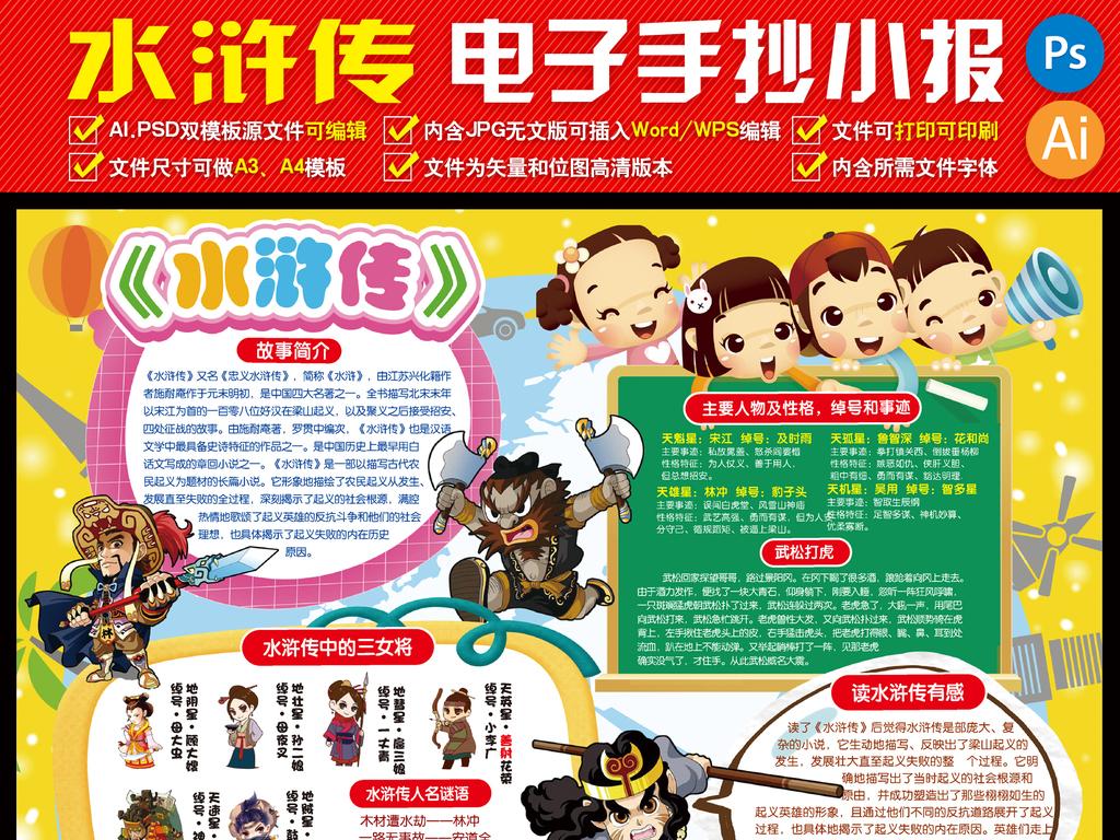 水浒传小报童话故事小报电子小报手抄报