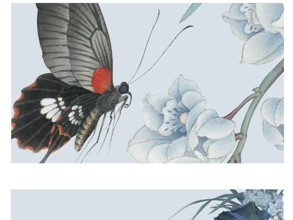 中式古典手绘工笔花鸟兰花荷趣装饰画背景墙