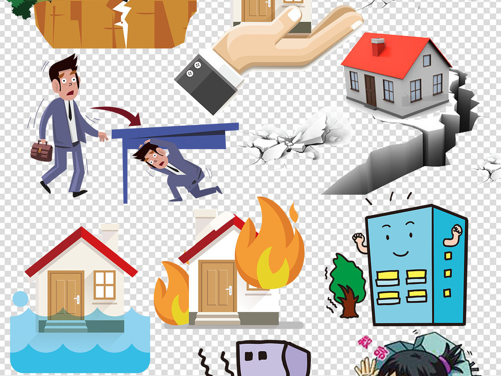 地震人物图片手绘