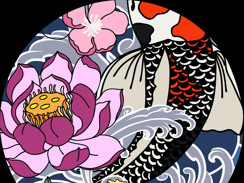 手绘鲤鱼跳龙门中国元素龙戏水