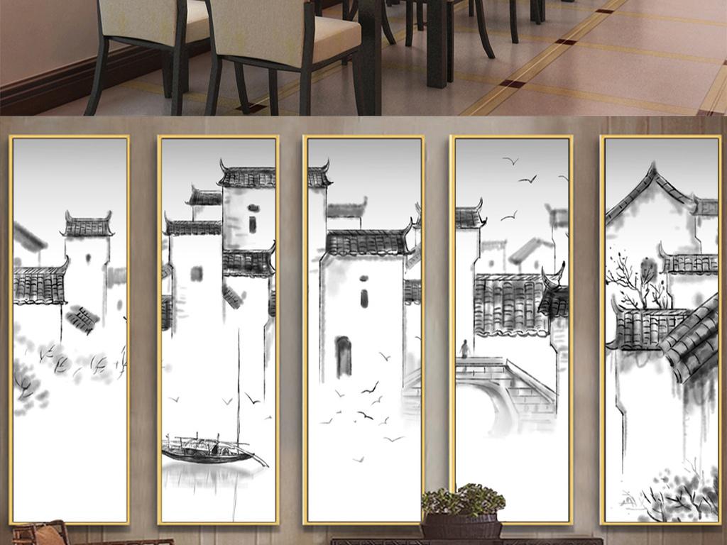 新中式手绘水墨徽派建筑马头墙背景墙