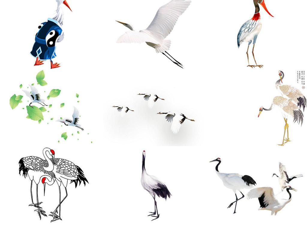 中国风鹤水墨鸟丹顶鹤古风素材2图片下载png素材 效果素材图片