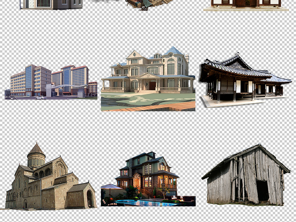 别墅建筑老式房屋古老建筑中国风建筑房子