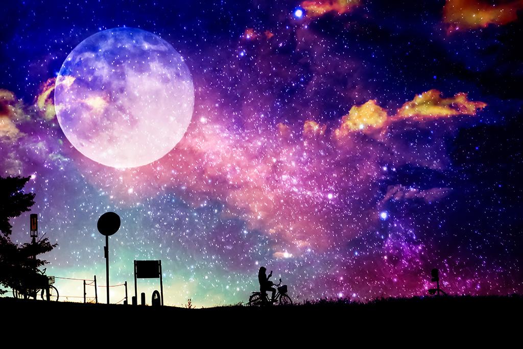奇幻星空月亮星星夜晚背景素材壁纸