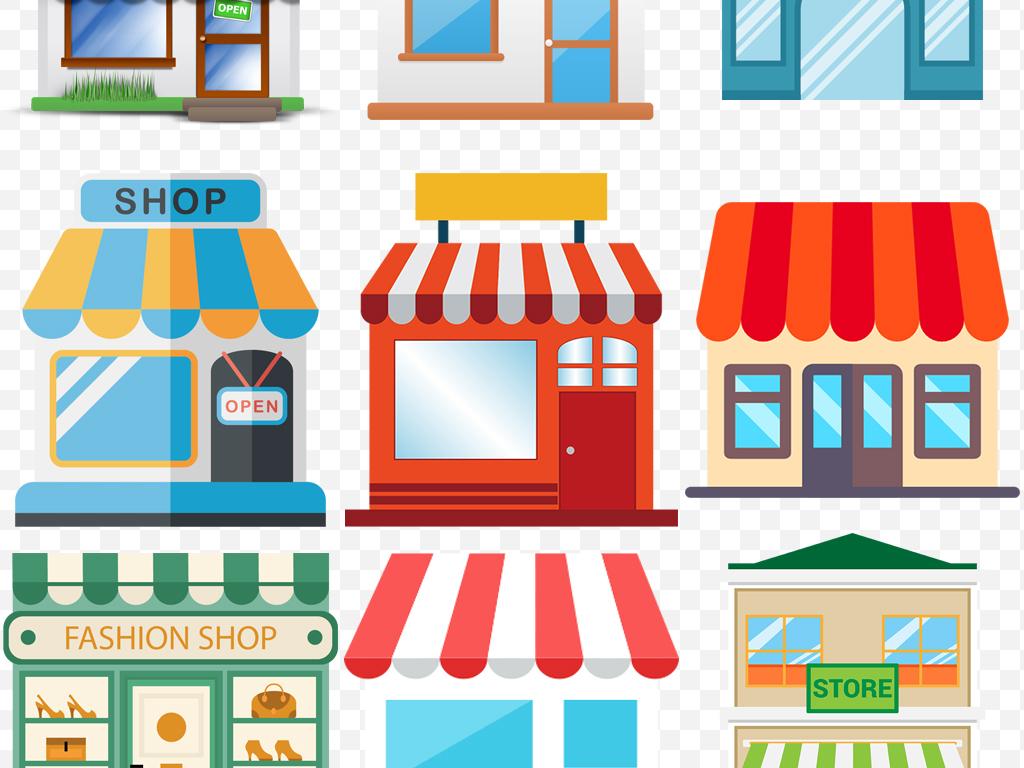 手绘卡通建筑商店购物门面超市店铺逛街素材