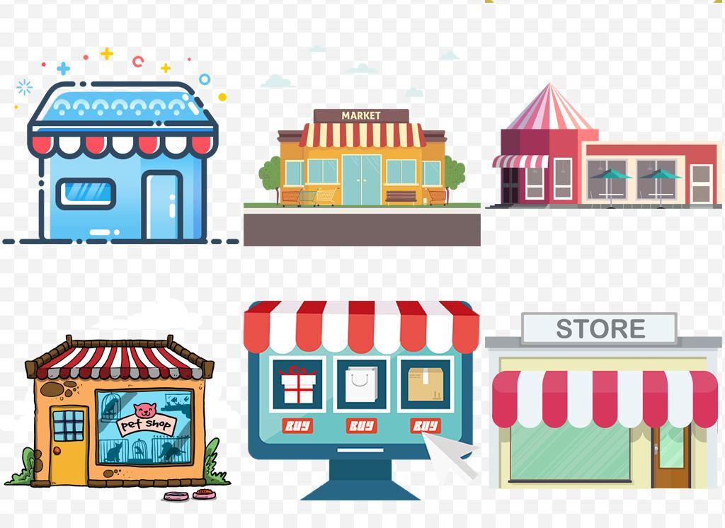 设计元素 其他 其他 > 手绘卡通建筑商店购物门面超市店铺逛街素材