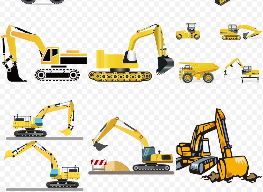 城市建设建筑施工机械挖掘机挖土机png
