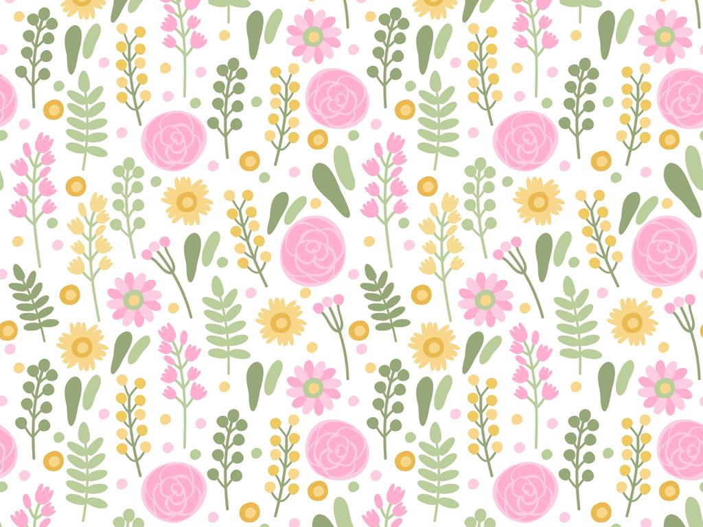 小清新花朵花草图案可爱花卉图案儿童服装印花卡通植物花卉