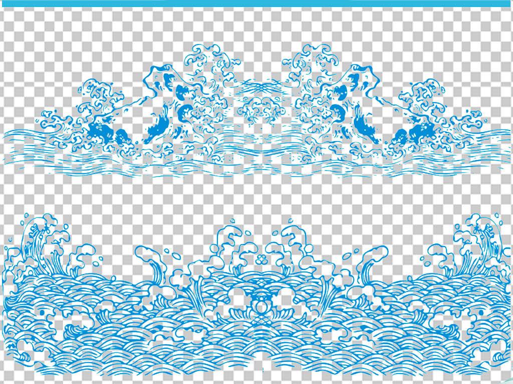 中式古典祥纹边框海浪浪花png透明素材