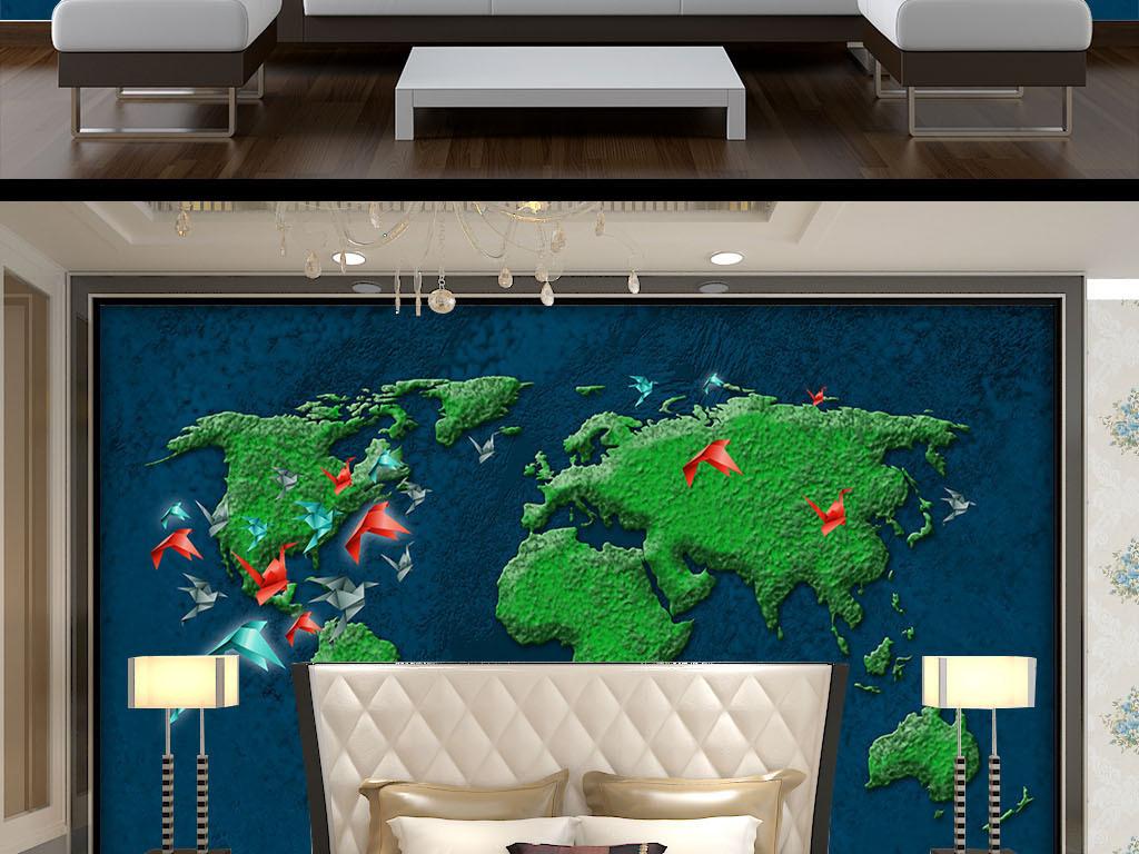 遨游地球世界地图千纸鹤浮雕背景墙