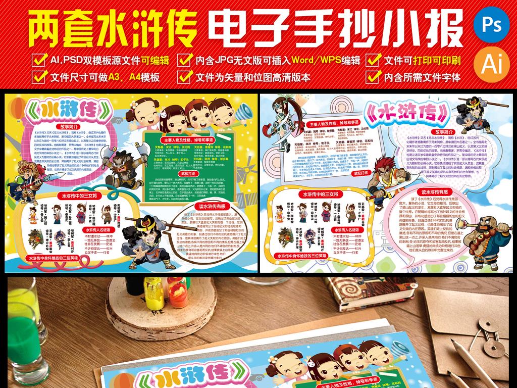 两套水浒传小报童话故事小报电子手抄报小报