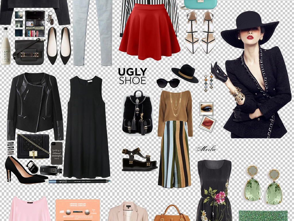 psd)手绘时尚服装服饰搭配女装详情页设计素材女装搭配素材下载