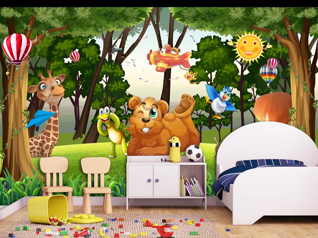 背景墙|装饰画 电视背景墙 儿童房背景墙 > 唯美森林动物王国儿童房