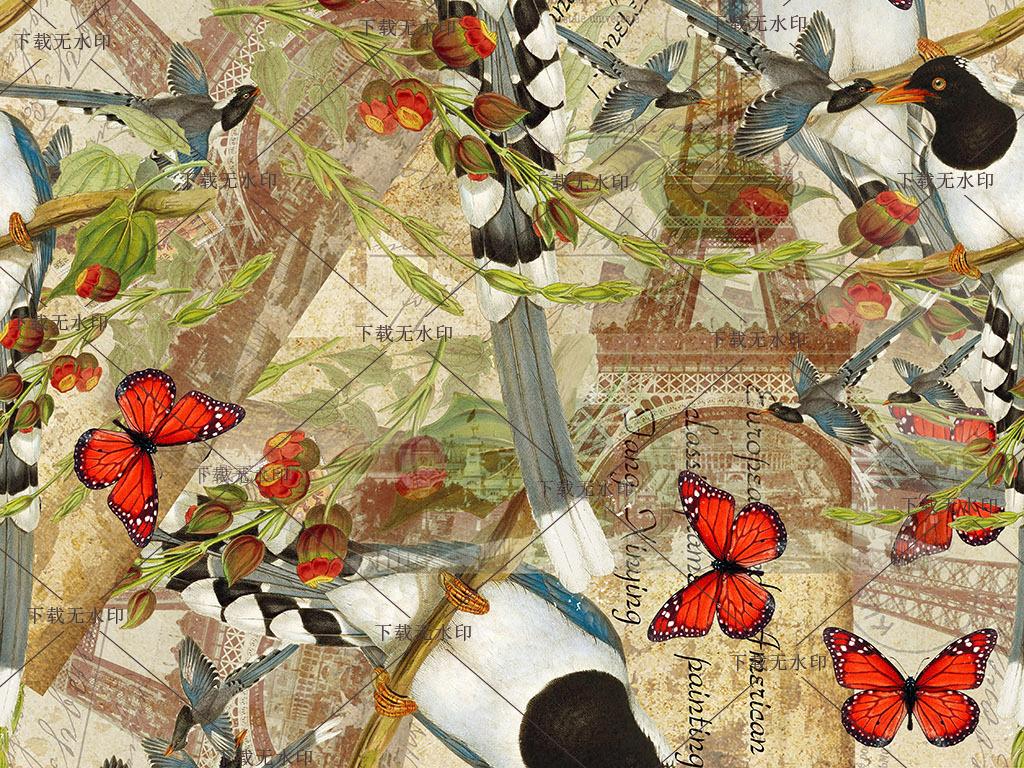 手绘天堂鸟图案极乐鸟数码印花蝴蝶花鸟花型