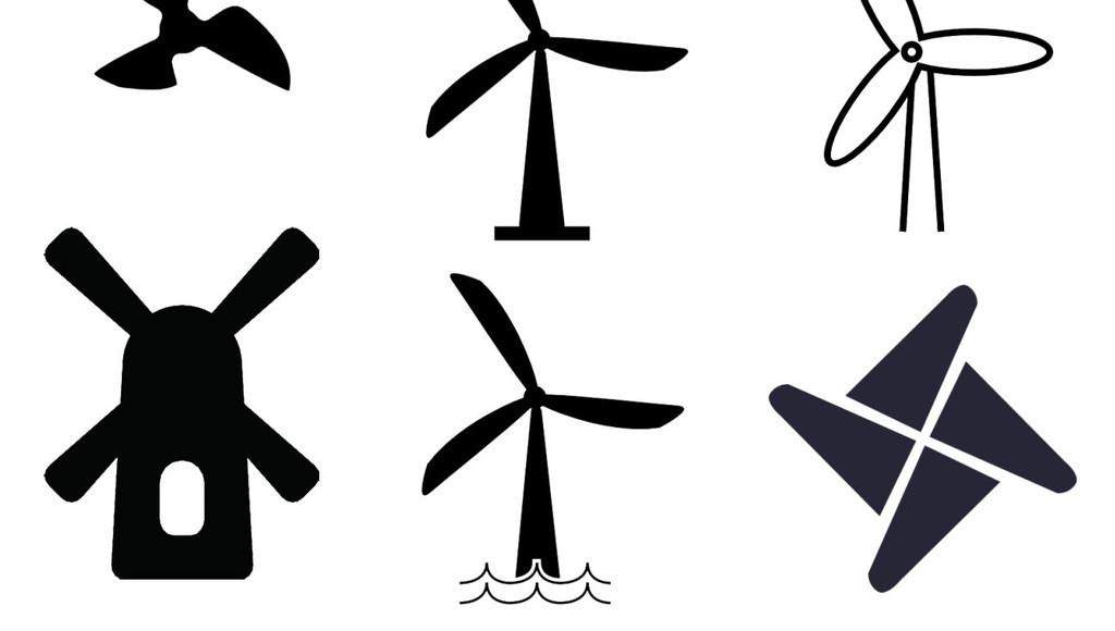 风车电扇简笔画图标三角风车免扣