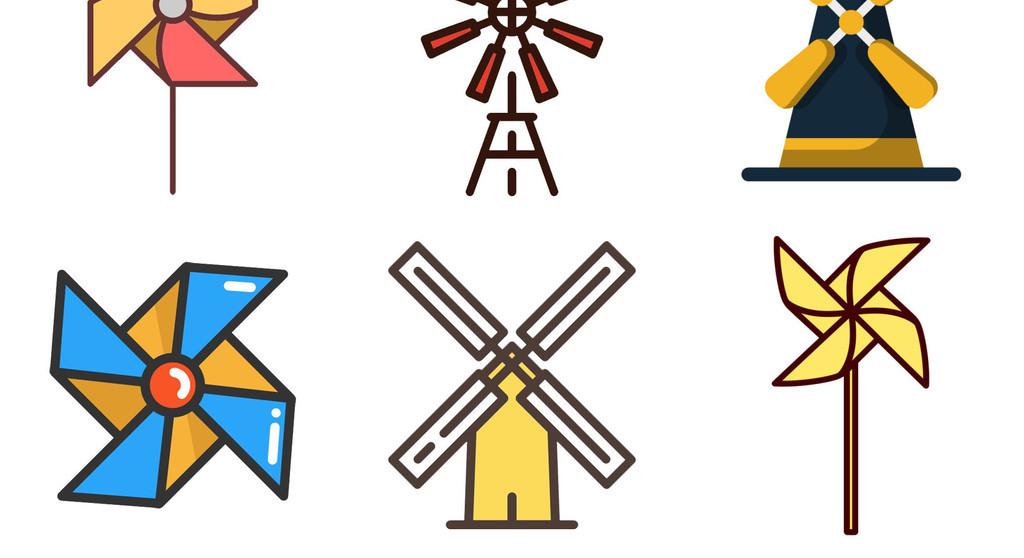 彩色风车水车手拿风车简笔画免扣png素材