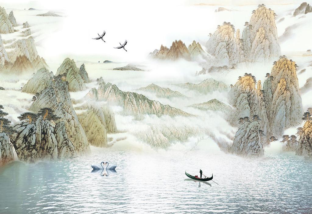 新中式山水画电视背景墙装饰画