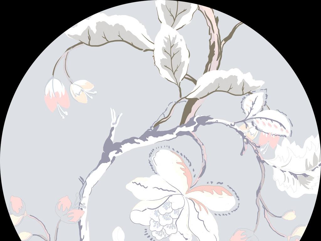 新款手绘树枝花卉设计