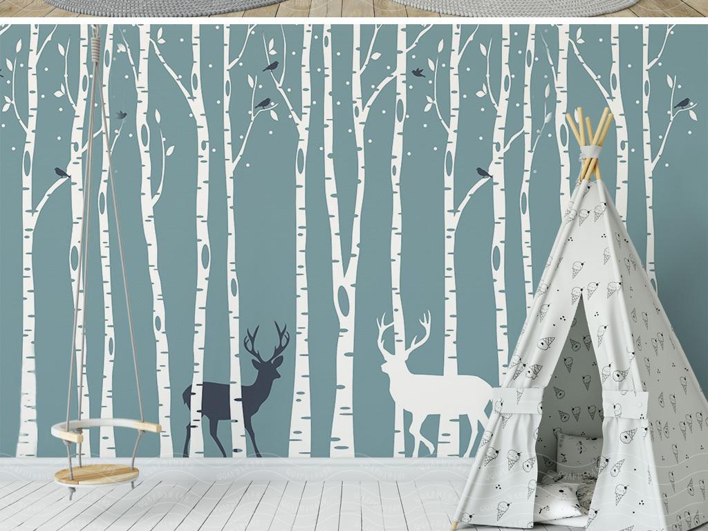 北欧简约麋鹿森林壁画背景墙(图片编号:16862300)_墙图片