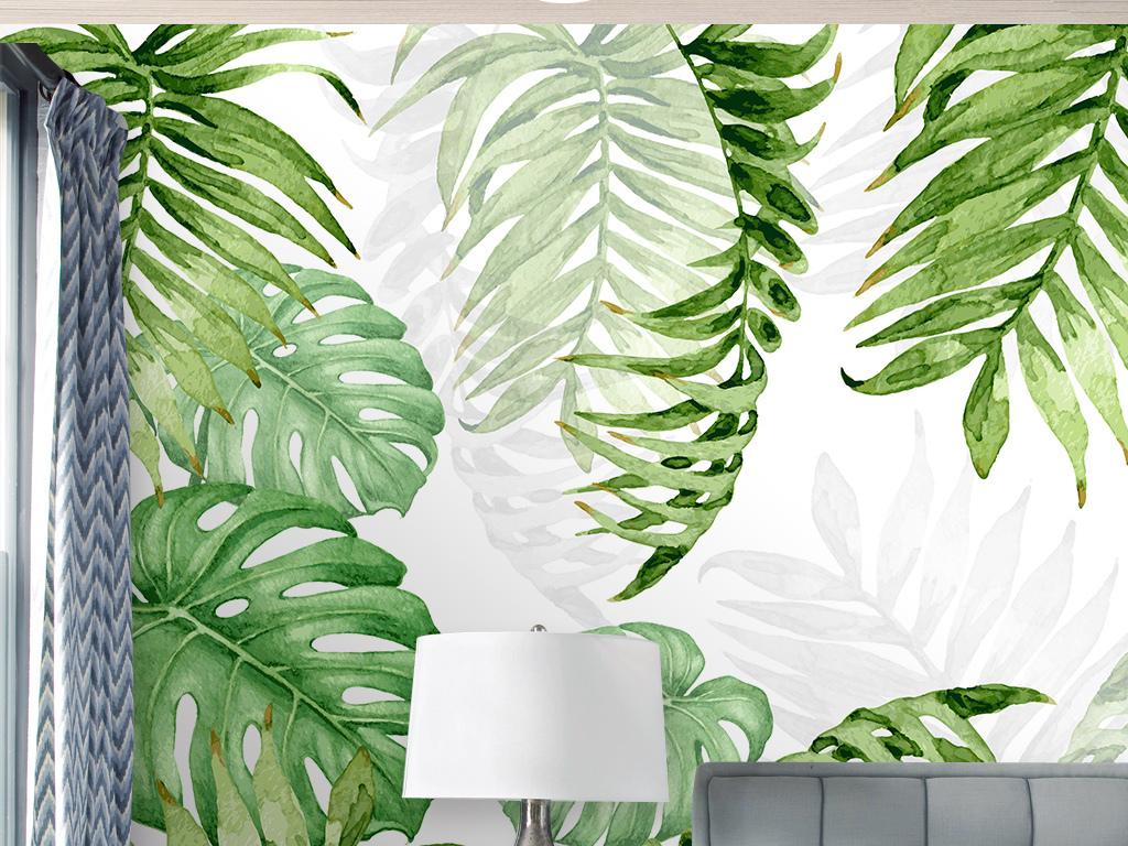 北欧现代简约手绘热带植物叶子背景墙壁纸