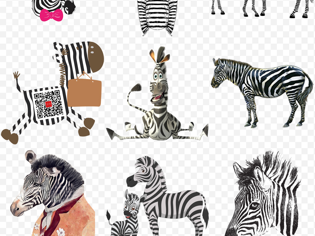 设计元素 自然素材 动物 > 水彩卡通手绘斑马动物创意海报png素材