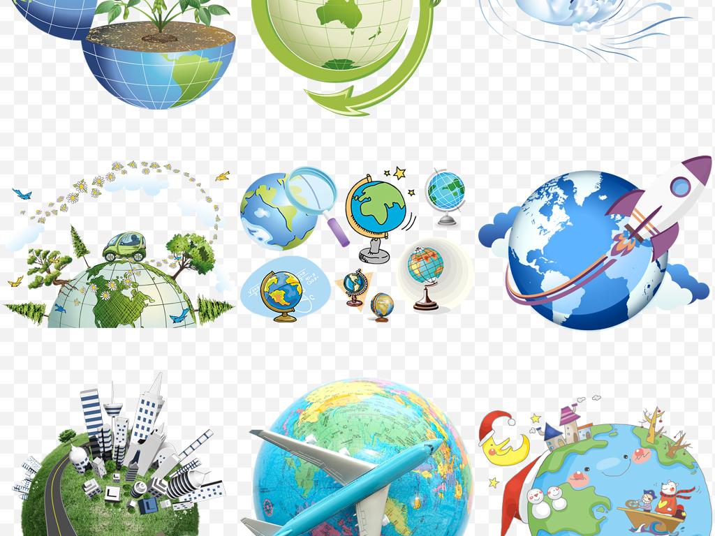卡通手绘地球蓝色地球科技地球png素材
