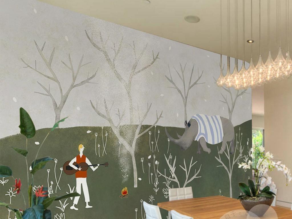 北欧森林犀牛手绘背景墙
