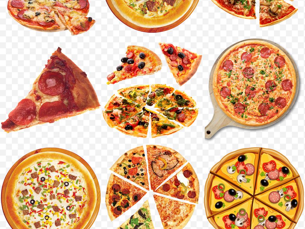 手绘简约西餐美味美味披萨海报png素材