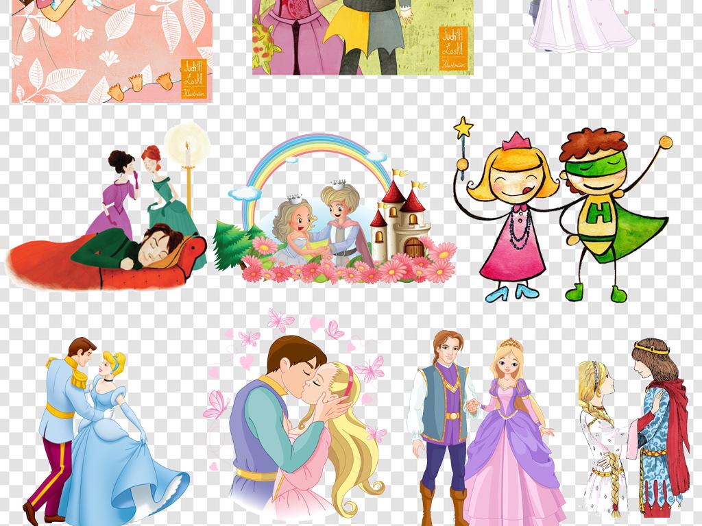 免抠元素 人物形象 美女 > 卡通手绘王子公主png海报素材  素材图片