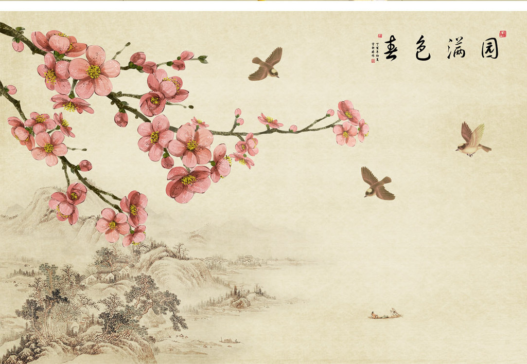 工笔画手绘古韵梅花梅花树淡雅飞鸟喜鹊春晓自然壁纸花卉手绘花卉工笔