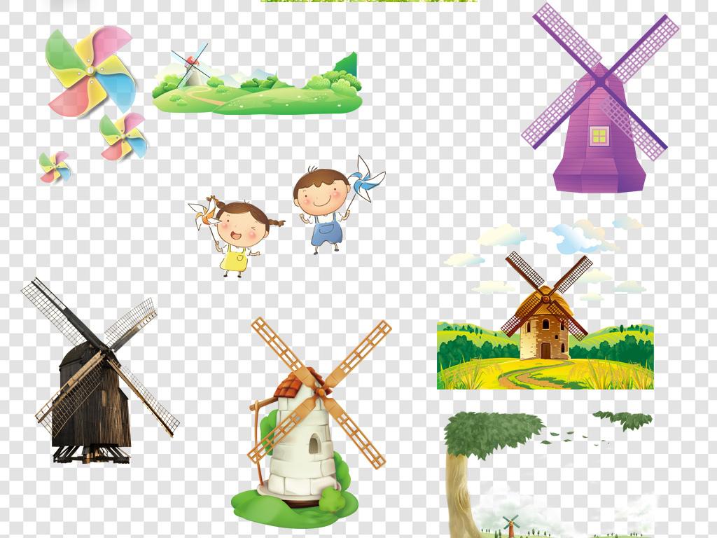 卡通手绘风车png海报素材