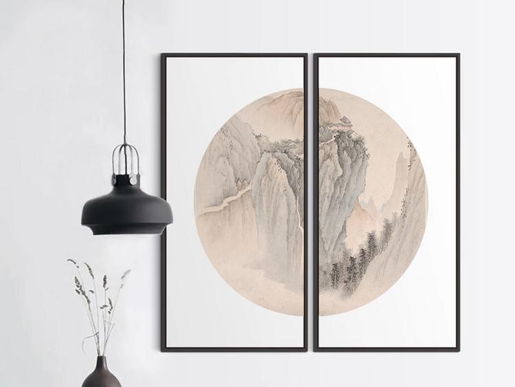 简约雅致现代中式圆形无框画山水装饰画